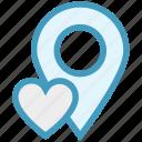 gps, heart, location, location pin, map pin, navigation, pin icon