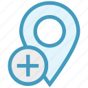 gps, location, location pin, map pin, navigation, pin, plus icon