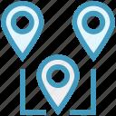 gps, location pins, locations, map pins, marker, navigation, pins icon