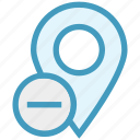 gps, location, location pin, map pin, minus, navigation, pin icon