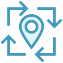 arrows, gps, location, location pin, navigation, pin, pointer icon