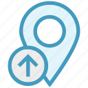 gps, location, location pin, map pin, navigation, pin, up arrow icon
