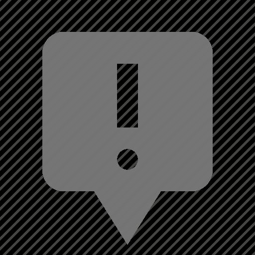 alert, error, exclamation, location, pin icon