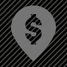 bank, dollar, location, money, pin icon
