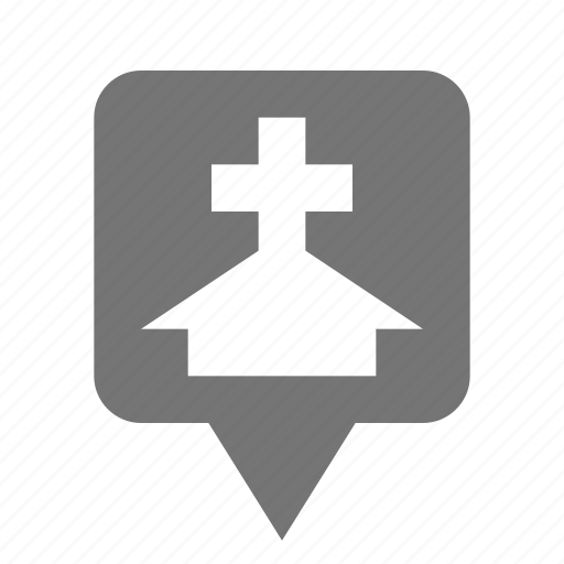 church, hospital, location, pin icon