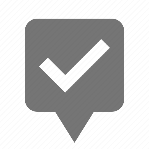 check, location, pin, select icon
