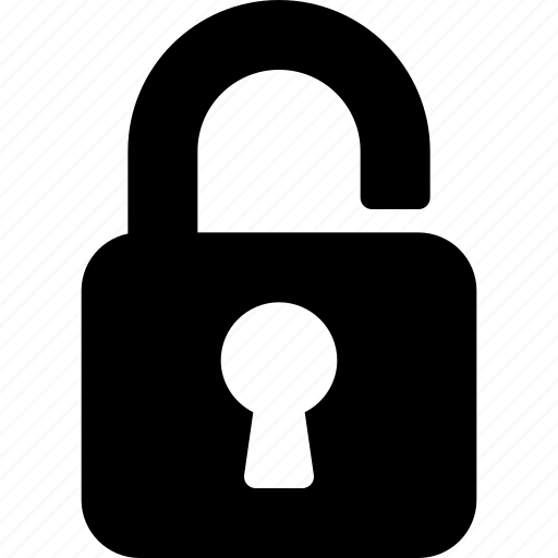 lock, open, password, protection, secure icon