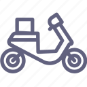 bike, box, delivery, motor, scooter icon