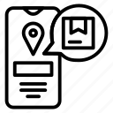 location, logistic, mobile, package, track icon