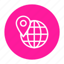 globe, location, logistic, shipping, world pin icon
