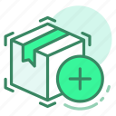 add, box, delivery, new, shipping icon