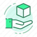 box, delivery, hand, product, shipping icon