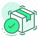 box, delivery, done, shipping icon