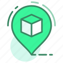 box, delivery, location, map, product icon
