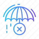 cancel, delivery, rain, remove, umbrella icon