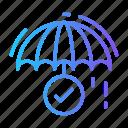 delivery, done, rain, safe, umbrella icon