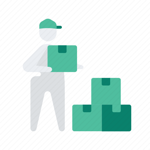 boxes, delivery, hand, logistic, man, multiple, package icon