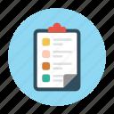 clipboard, document, list, records, sheet