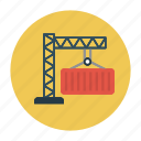 container, crane, hook, lifter, shipping icon