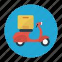box, carton, delivery, parcel, vespa
