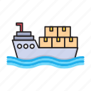 cruise, delivery, logistics, ship, transport icon