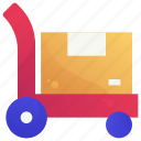 delivery, logistic, pushcart, service, shipping icon