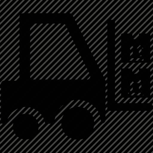 delivery, forklift, packages on forklift, transportation, transportation on truck icon