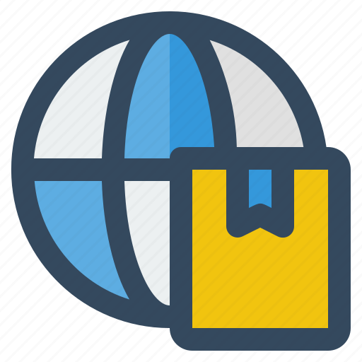 box, business, delivery, globe, logistic, money, shipping icon