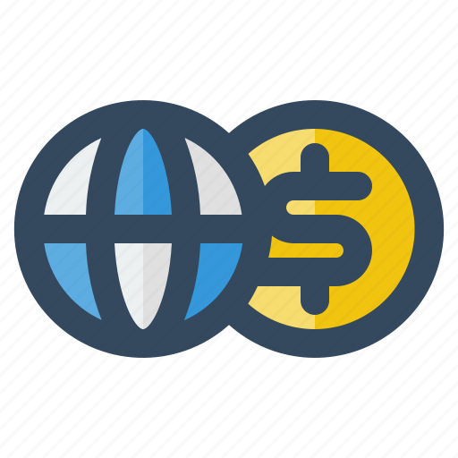 business, delivery, dollar, globe, logistic, money, shipping icon