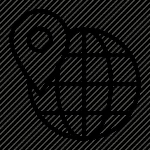 globe, location, logistic, shipping, world pin icon