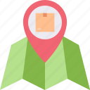 box, location, map, navigation, package, pin icon