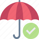 secure, umbrella, checkmark, protection, security, confirm icon