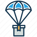 air delivery, delivery box, delivery service, fast deliver, package delivery, parachute icon