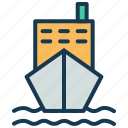 cargo ship, cargo vessel, container ship, freighter, shipping boat, transport icon