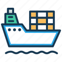 cargo ship, consignment, delivery, sea delivery, shipment, transport icon
