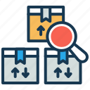 package, parcel, product delivery, search, storage icon