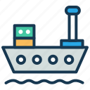 cargo ship, consignment, logistics, shipment, storage container icon