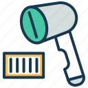 barcode reader, barcode scan, billing, product scan, retail, scanner icon