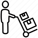 delivery, logistic services, package, parcel, shipping, trolley, warehousing
