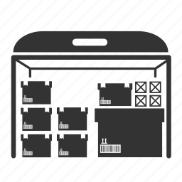 box, cargo, crate, goods, logistic, room, shelf icon