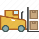 forklift, lifter, transport, vehicle, work icon