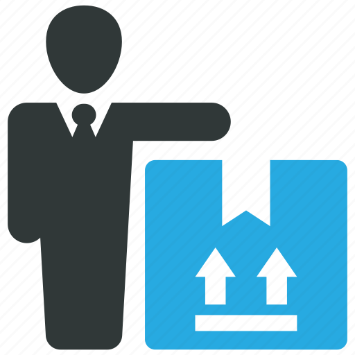 box, businessman, goods, package icon
