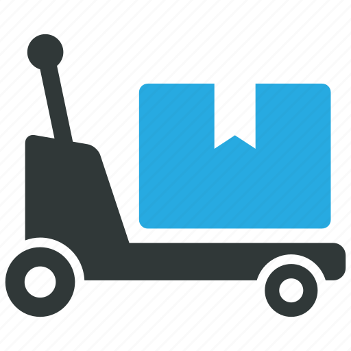 cargo, crate, pallet truck, warehouse icon