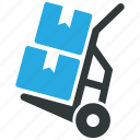 box, hand truck, logistics, trolley icon