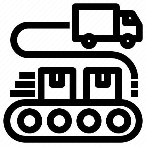 conveyor, load, loading, logistics, parcel, truck icon