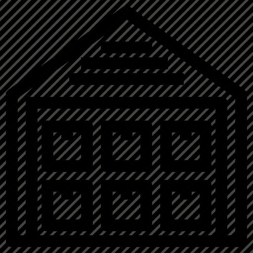 Warehouse, stock, storage, storehouse icon