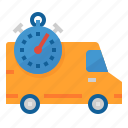 delivery, fast, shipping, stopwatch, van icon