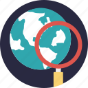 global search, globe magnifying glass, internet search, magnifier globe, world exploration icon