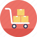 hand truck, airport luggage trolley, warehouse management, shopping cart, logistic services icon