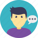 chat bubble, chatting, conversation, man talking, profile avatar icon